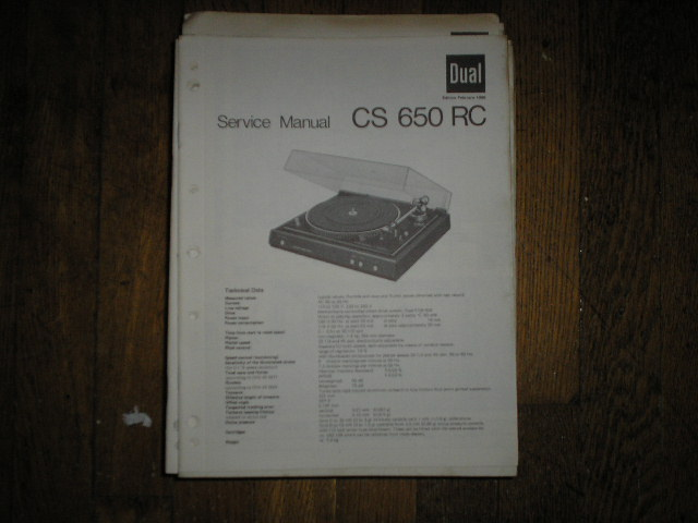 CS650RC Turntable Service Manual  Dual