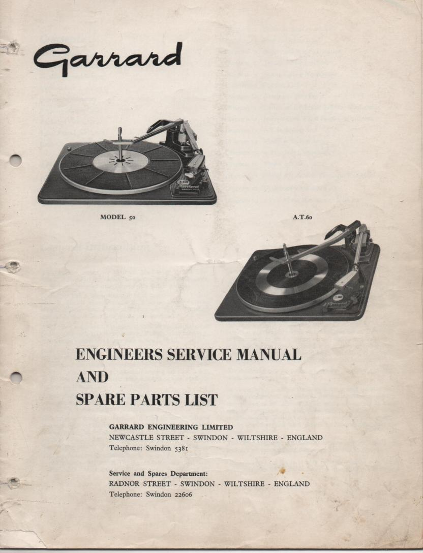 50 AT-60 Turntable Service Manual