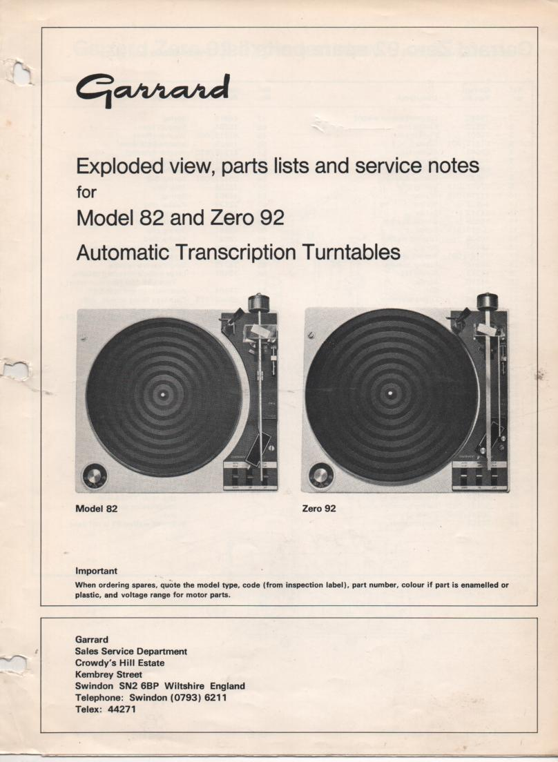 GARRARD 6-000 6-100 6-200 6-300 Series Turntable Service Manual