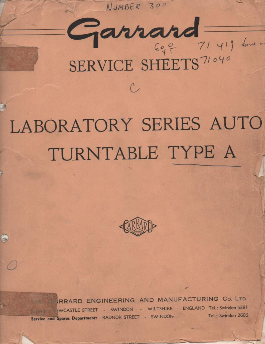 A TYPE A Turntable Service Manual  GARRARD