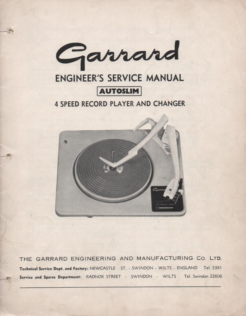 AUTOSLIM Turntable Service Manual..