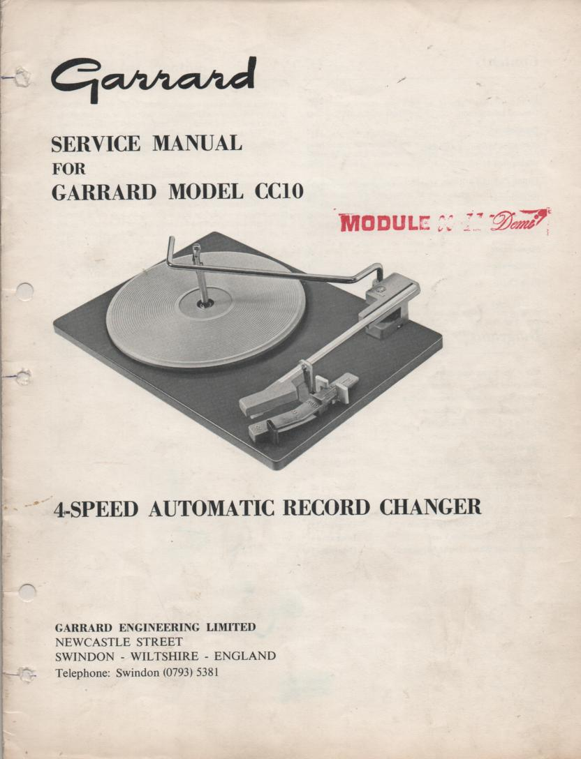 CC10 Turntable Service Manual..