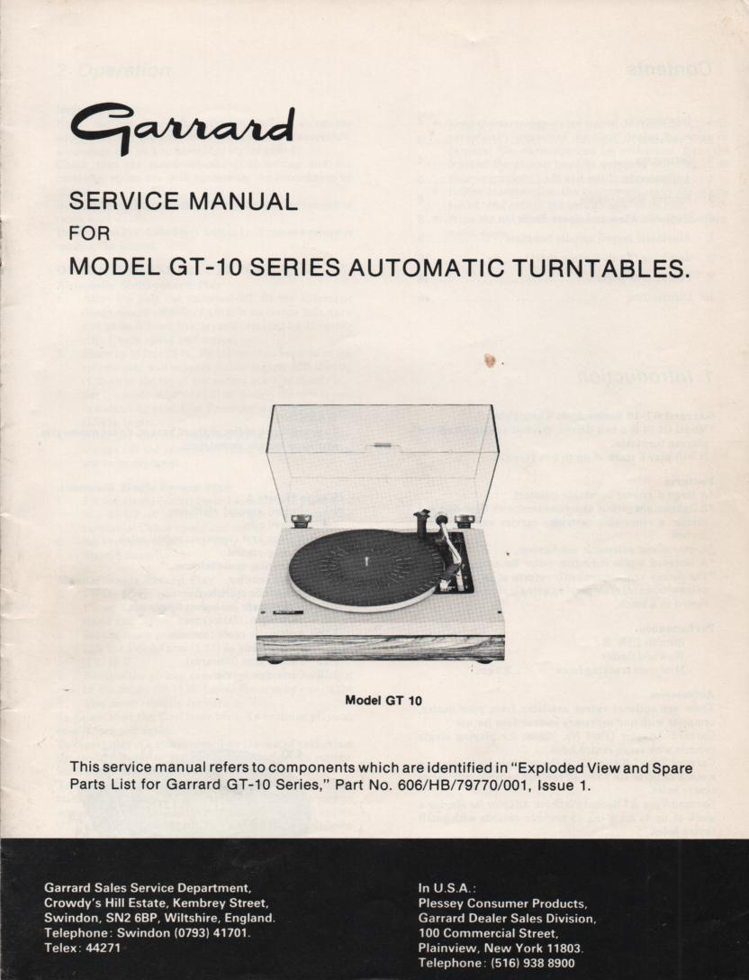 GT-10 Turntable Service Manual
