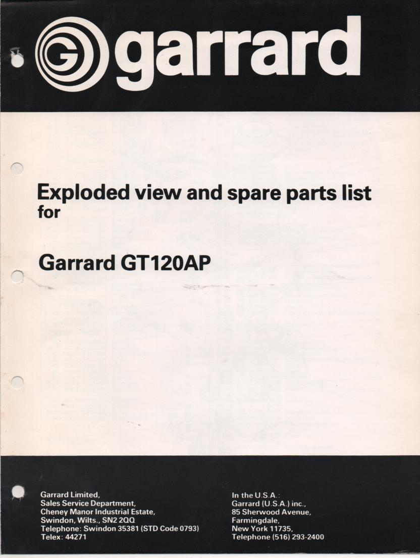 GT120AP Turntable Exploded View Parts Manual  GARRARD