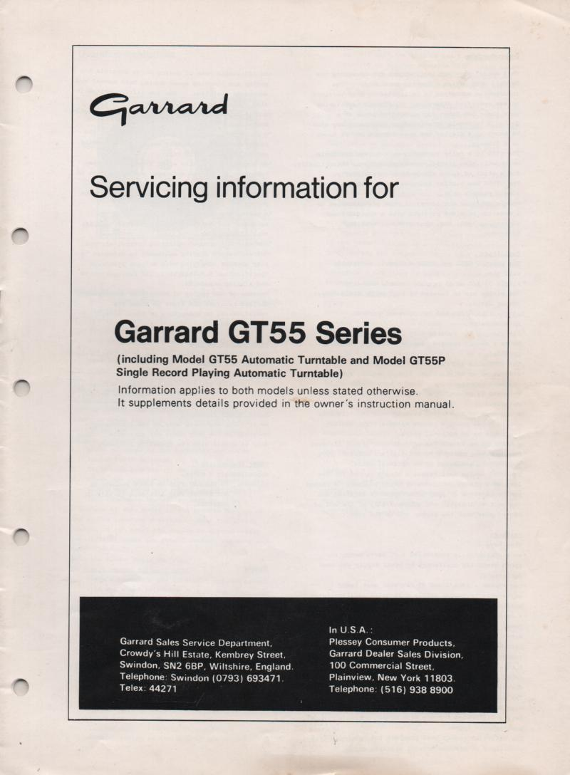 GT-55 GT-55P Series Turntable Service Manual  GARRARD