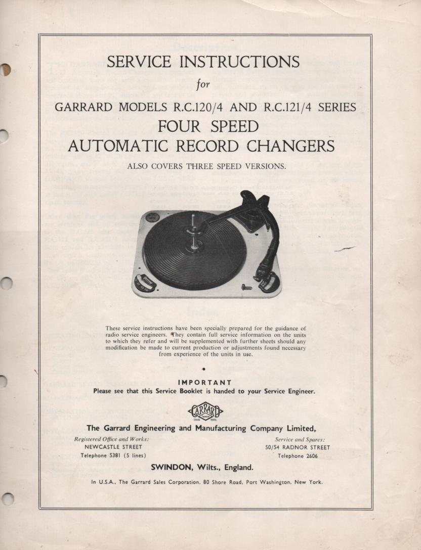 RC-120 RC-121 Phonograph Turntable Service Manual