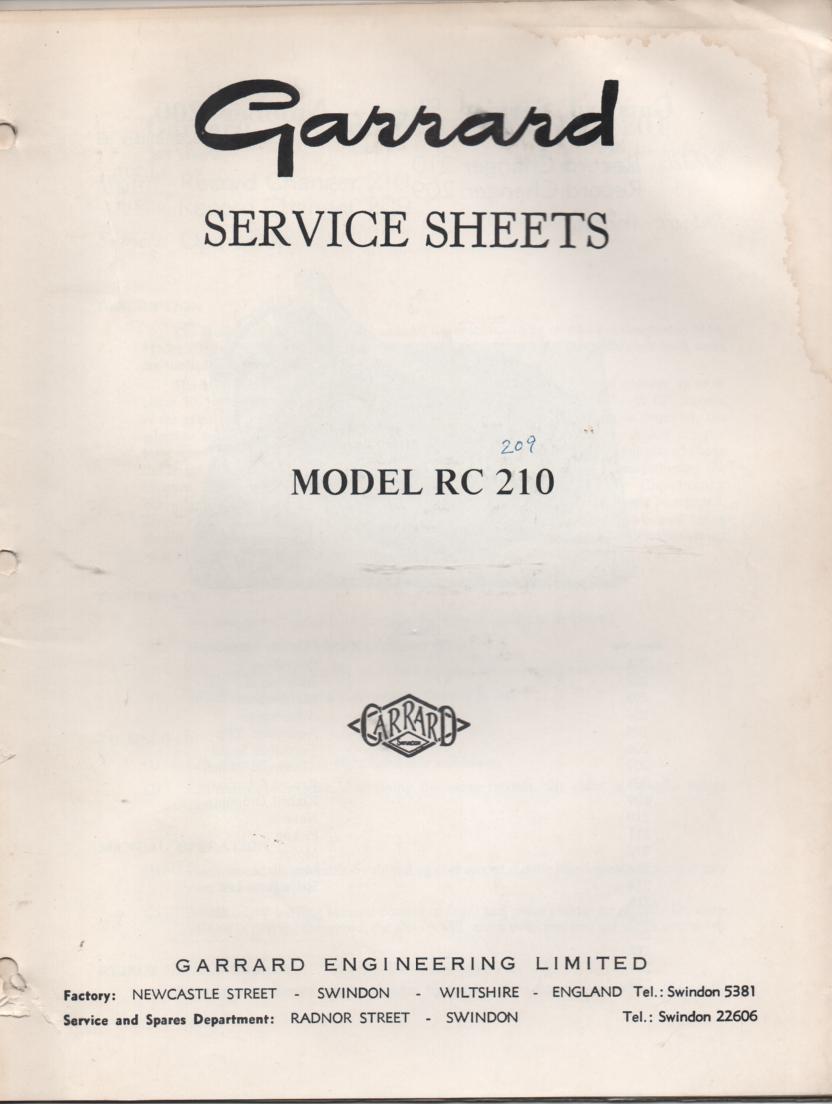 RC 209 RC 210 Record Changer Service Manual