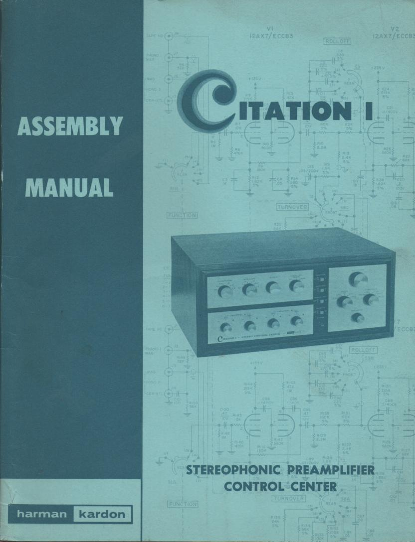 Citation 1 Pre-Amplifier Assembly Instruction Manual  Harman Kardon