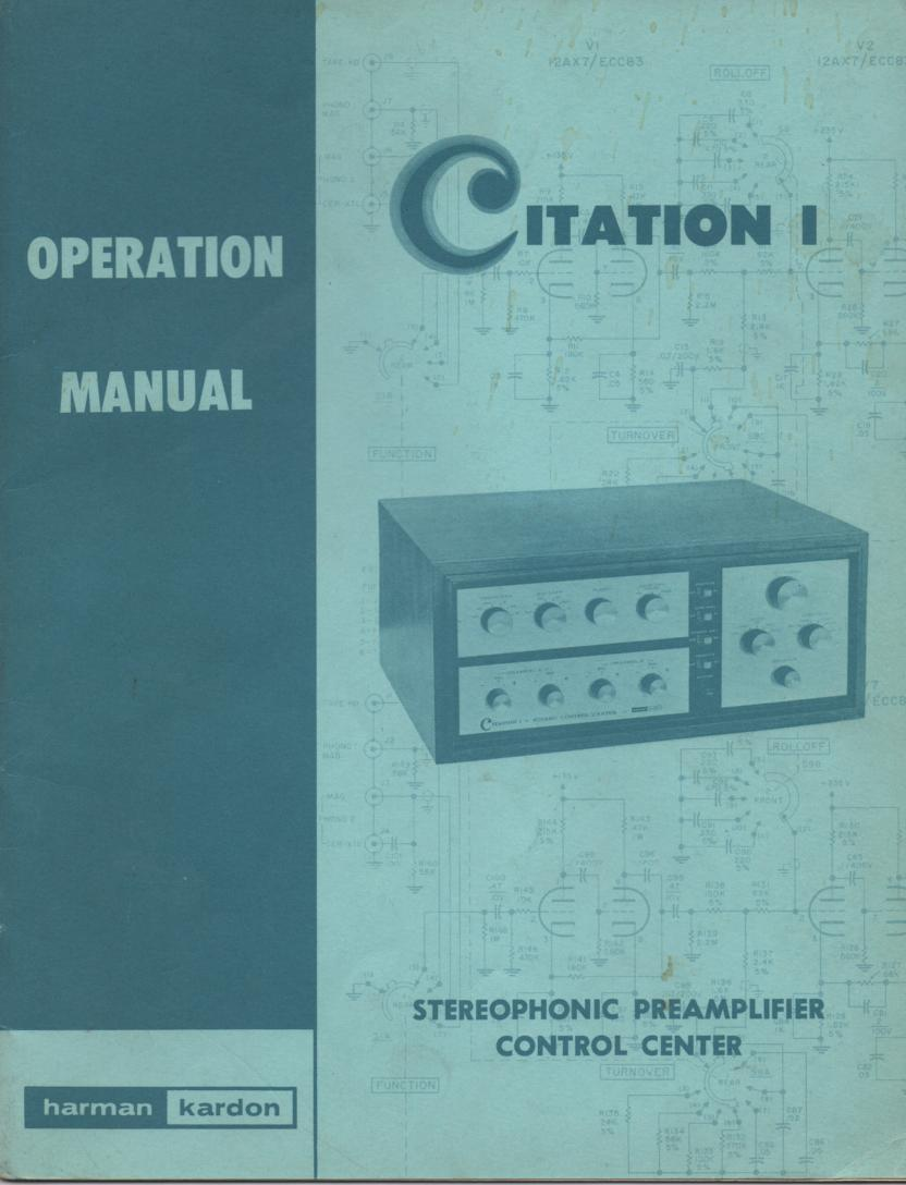 Citation 1 Pre-Amplifier Operating Instruction Manual  Harman Kardon