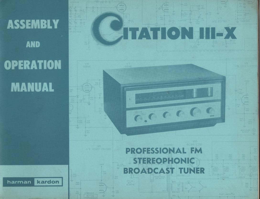 Citation 4 IV Pre-Amplifier Operating Assembly Instruction Manual  Harman Kardon