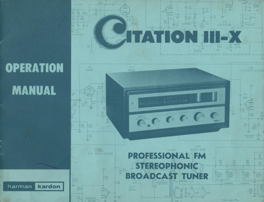Citation 3 X Tuner Operating Service Instruction Manual  Harman Kardon