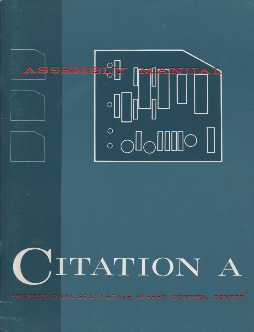 Citation A Pre- Amplifier Assembly Instruction Manual  Harman Kardon