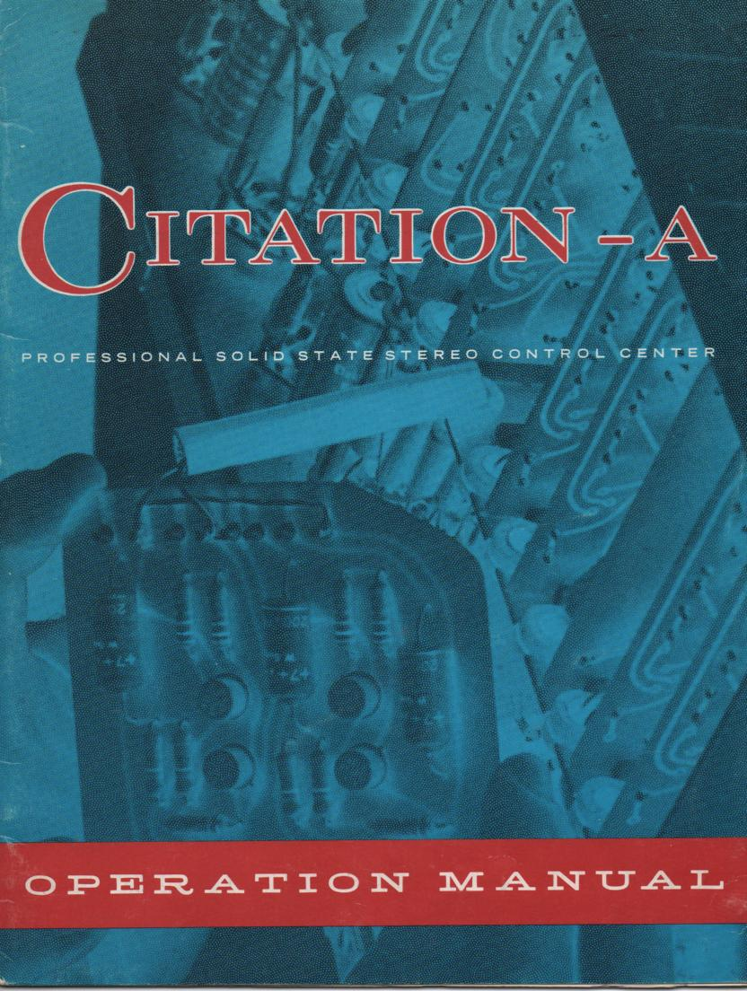 Citation A Pre-Amplifier Operating Instruction Manual  Harman Kardon