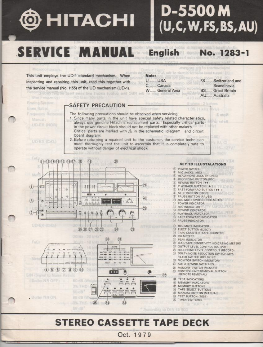 D-5500M Cassette Deck Service Manual .  For U C W FS BS and AU versions.  Manual is in English..Need the UD-1 Mechanism manual for complete service manual.