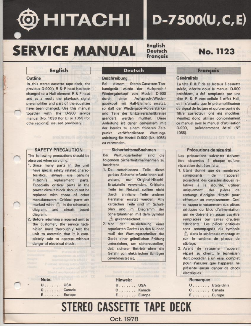 D-7500 Cassette Deck Service Manual .  For U C and E versions.  Manual is in English Deutsch and Francais...D-900 Manual needed.