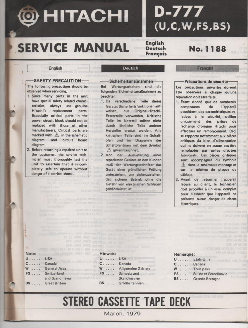 D-777 Cassette Deck Service Manual .  For U C W FS and BS versions.  Manual is in English Deutsch and Francais.