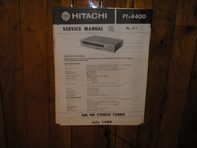 FT-4400 Tuner Service Manual  Hitachi