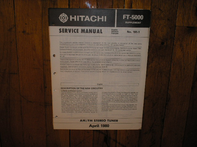 FT-5000 Tuner Service Manual Supplement English  Hitachi