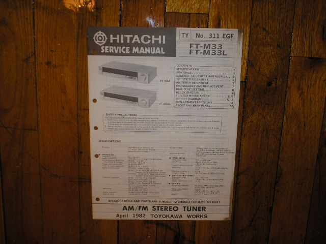 FT-M33 FT-M33L AM FM Tuner Service Manual  Hitachi