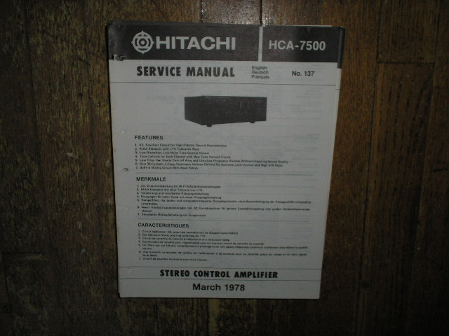 HCA-7500 Pre-Amplifier Service Manual  Hitachi