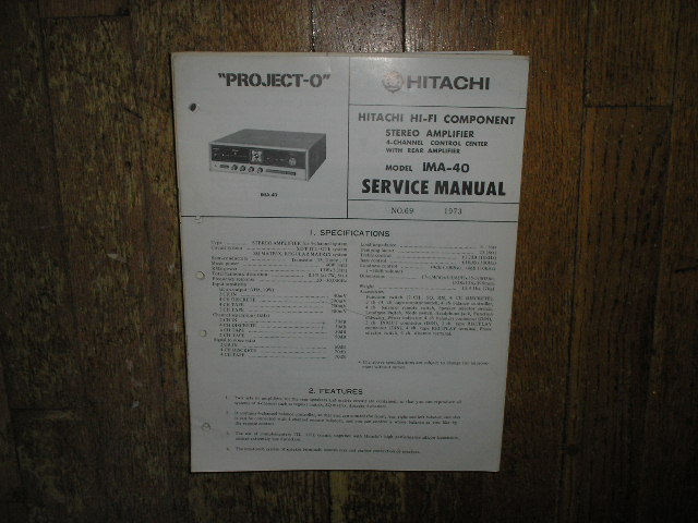 IMA-40 Pre-Amplifier Service Manual  Hitachi