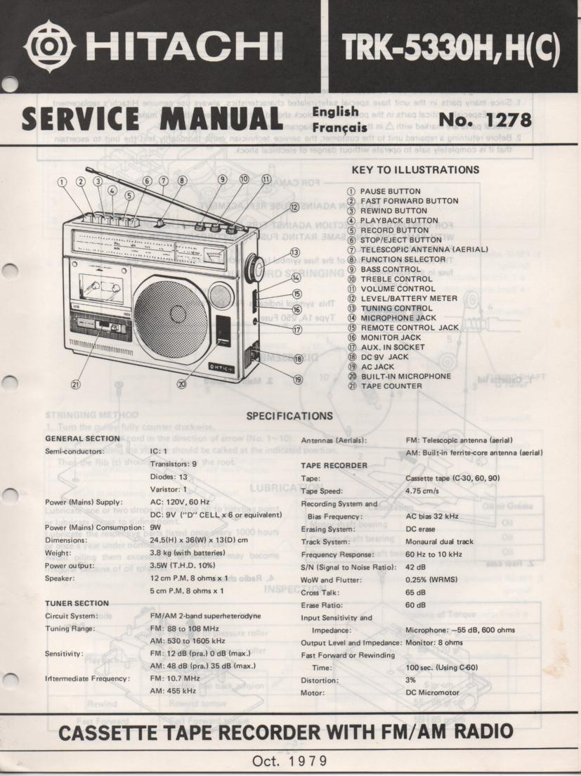 TRK-5330H TRK-5330HC Radio Service Manual. Manual is in English and French.