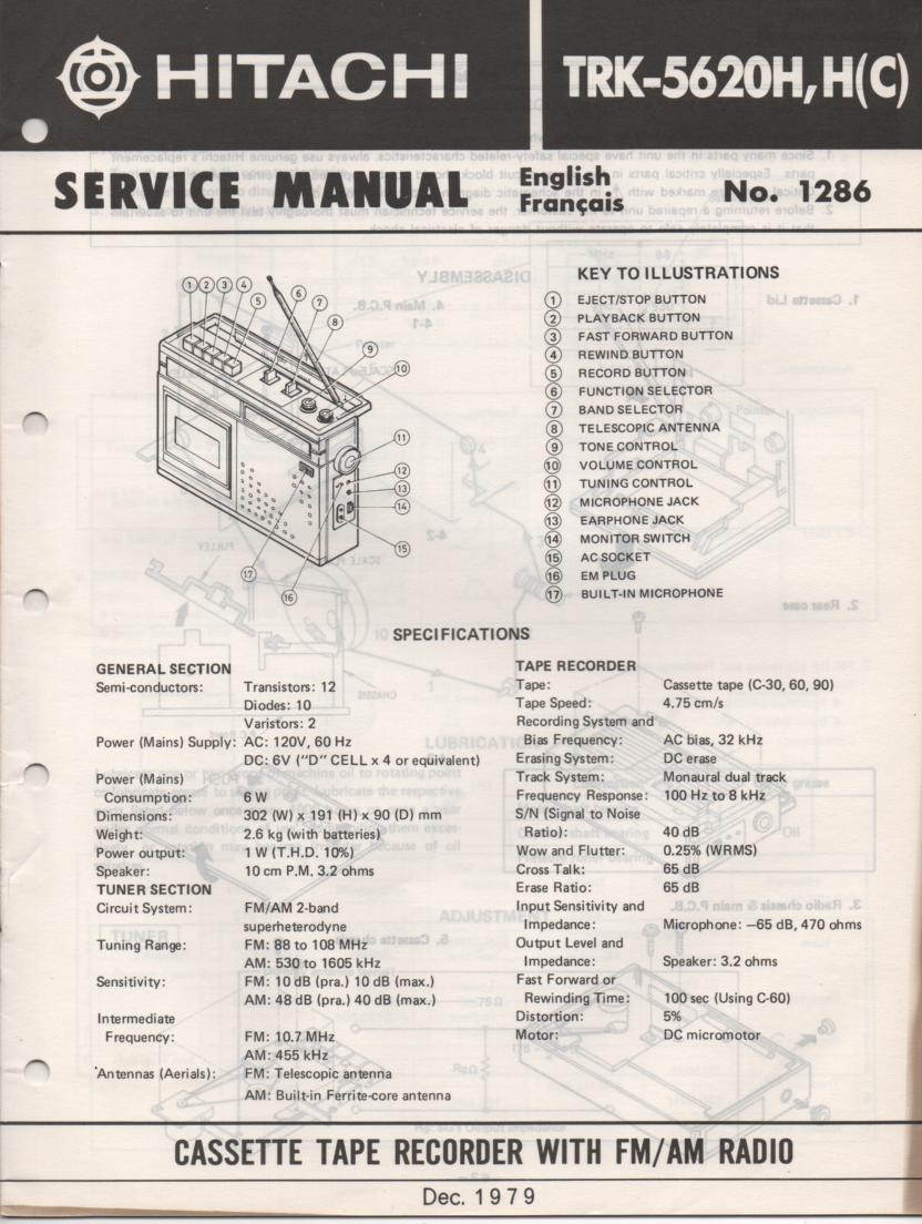 TRK-5620H TRK5620HC Radio Service Manual. Manuals is in English and French.
