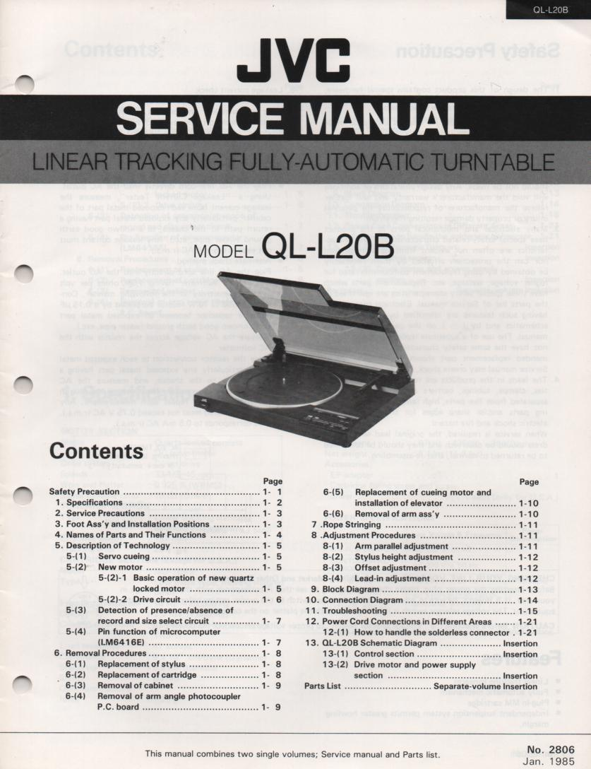 QL-L20B Turntable Service Manual