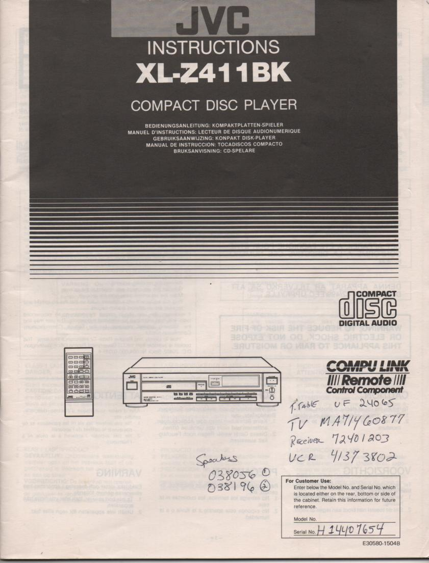 XL-Z411BK CD Player Owners Manual English