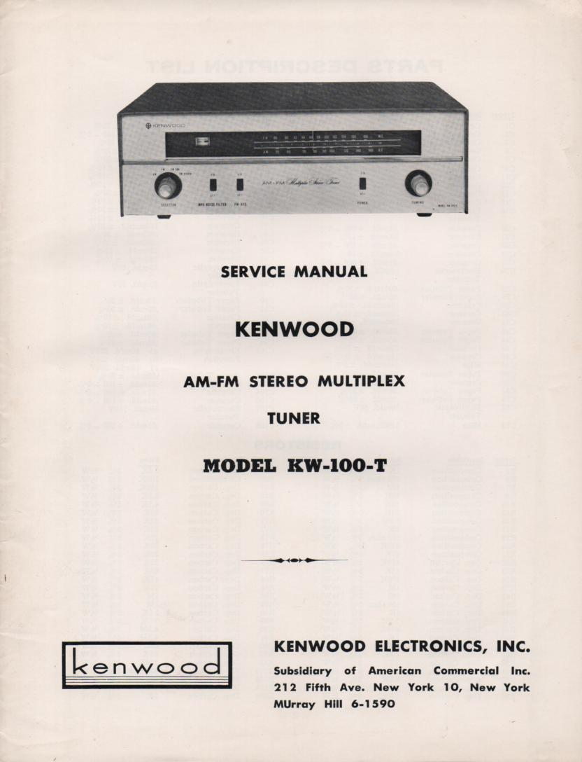 KW-100T Tuner Owners Manual  Kenwood