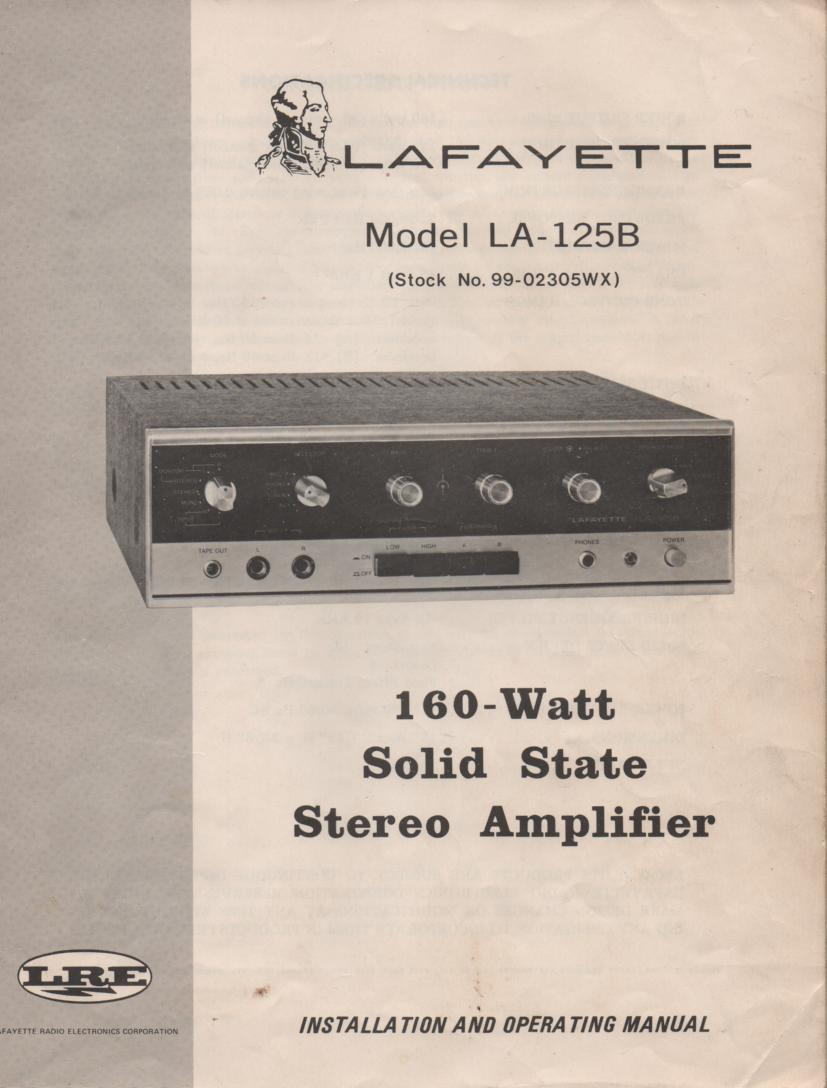 LA-125B Amplifier Manual  LAFAYETTE