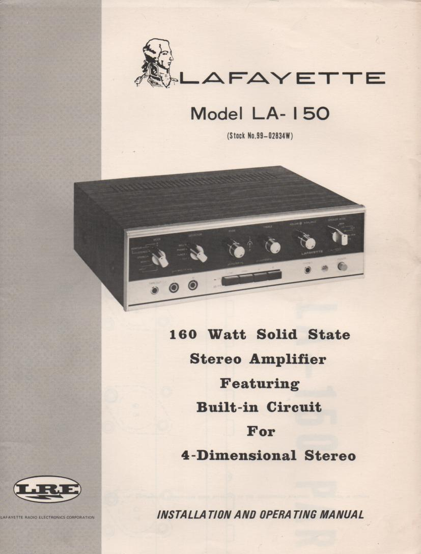 LA-150 Amplifier Manual  LAFAYETTE