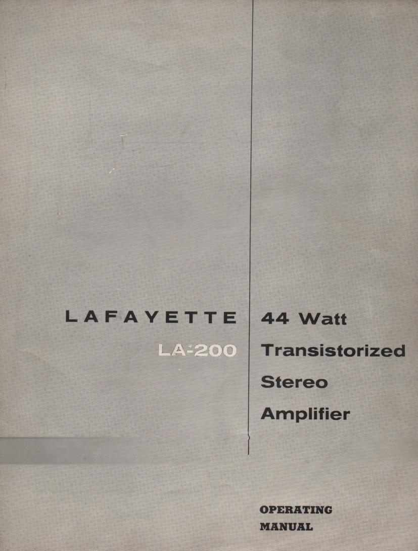 LA-200 Amplifier Manual  LAFAYETTE