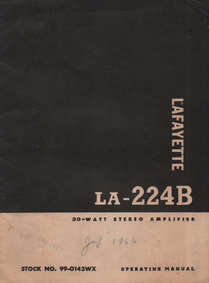 LA-224B Amplifier Manual  LAFAYETTE