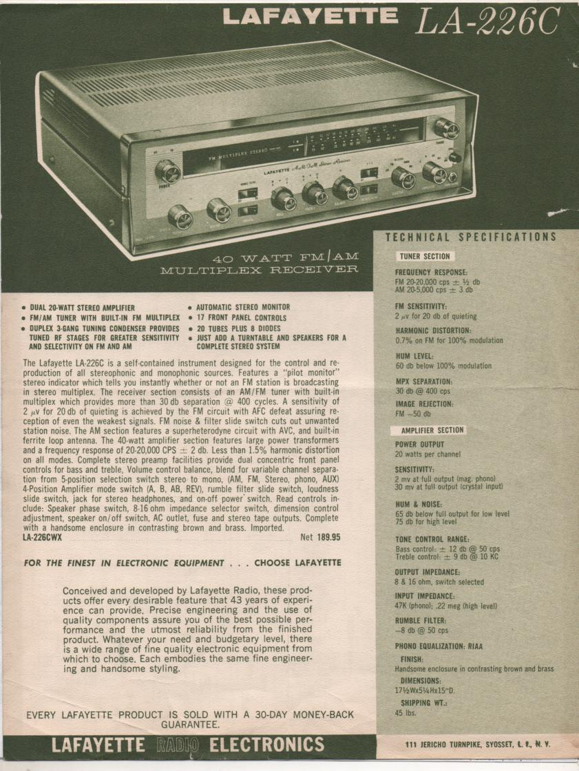 LA-226C Amplifier Manual  LAFAYETTE