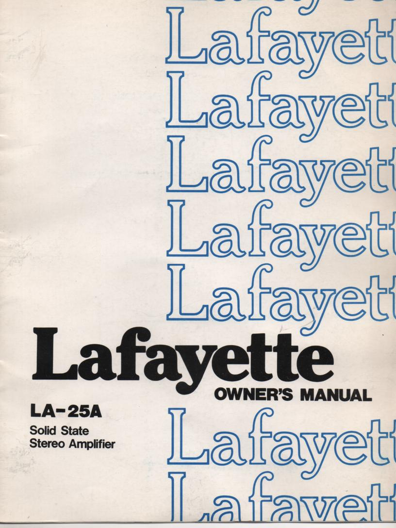 LA-25A Amplifier Manual  LAFAYETTE