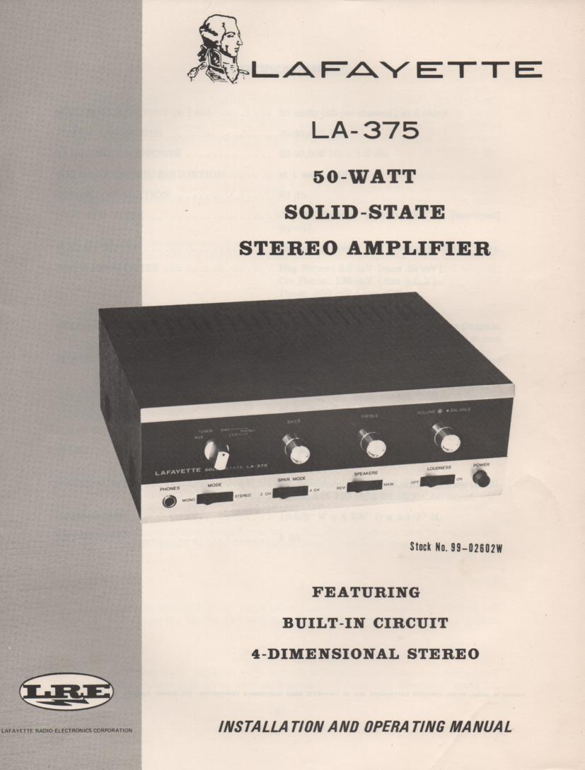 LA-375 Amplifier Manual  LAFAYETTE