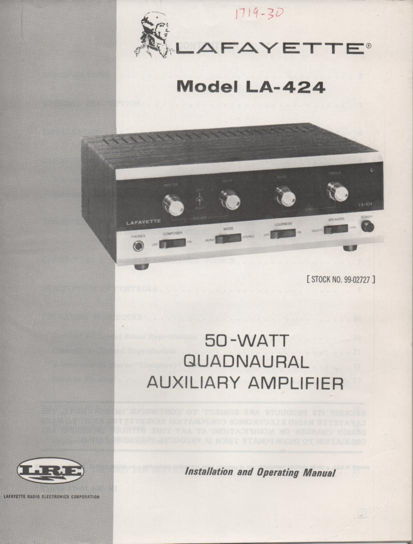 LA-424 Amplifier Manual  LAFAYETTE