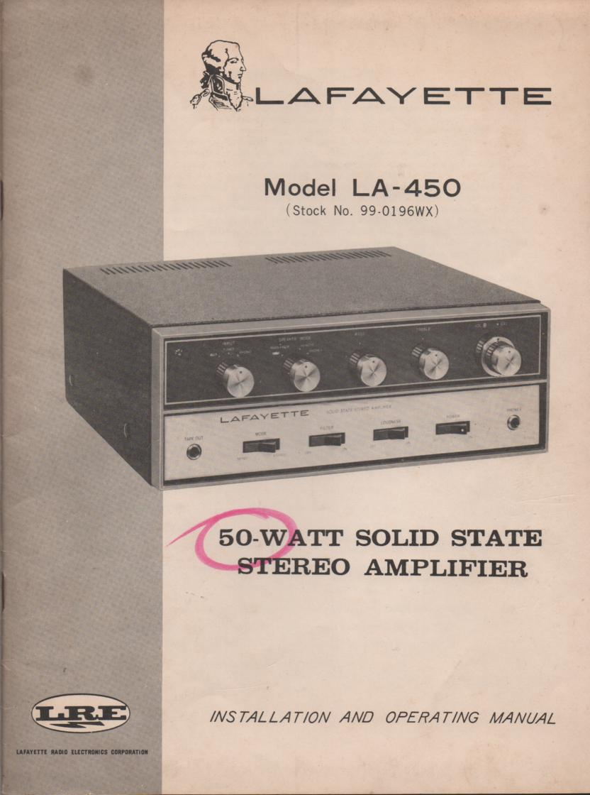 LA-450 Amplifier Manual  LAFAYETTE