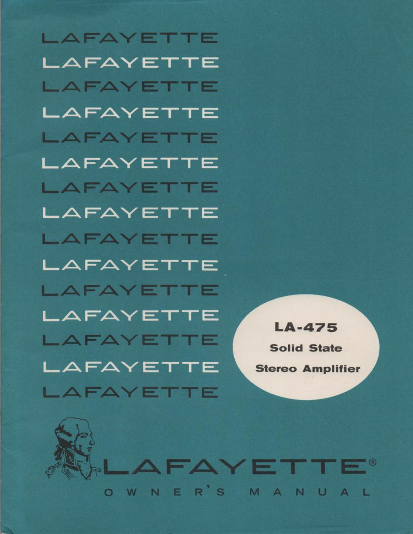 LA-475 Amplifier Manual  LAFAYETTE