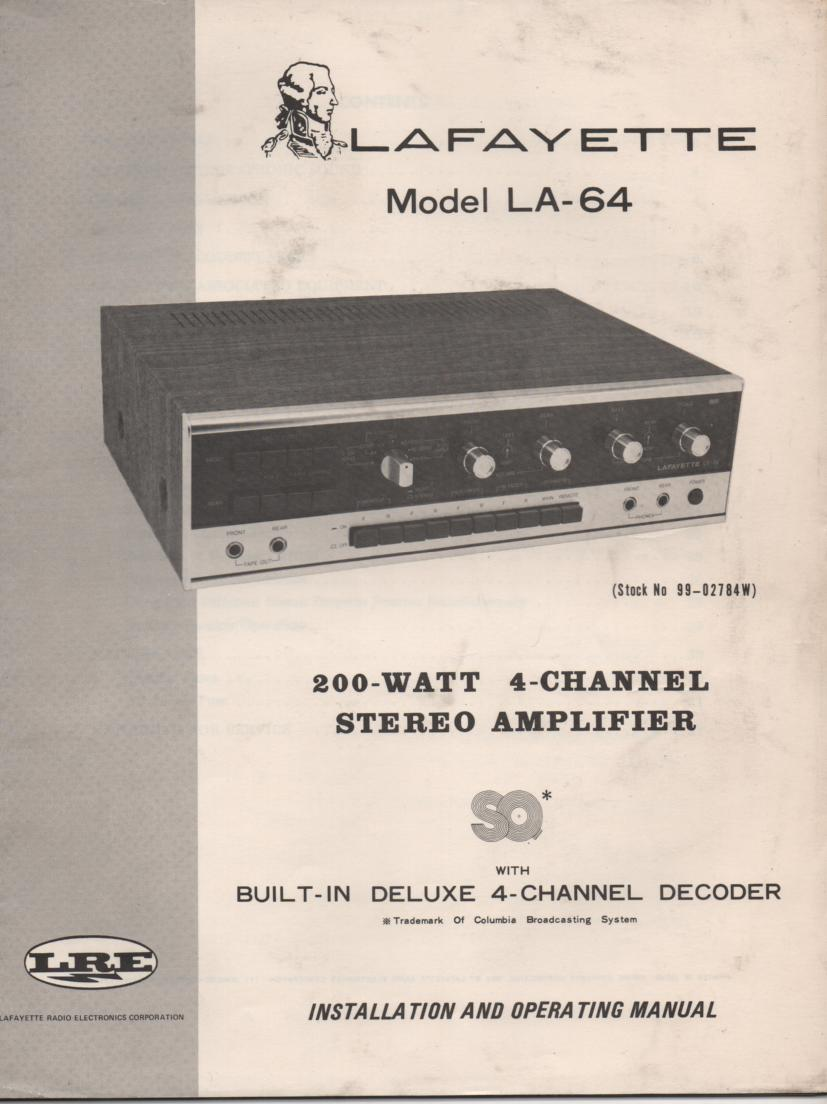 LA-64 Amplifier Owners Manual  LAFAYETTE