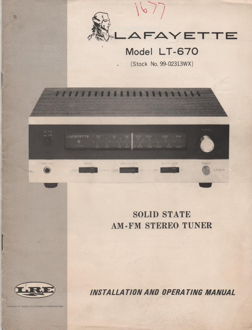 LT-670 Tuner Owners Service Manual  LAFAYETTE