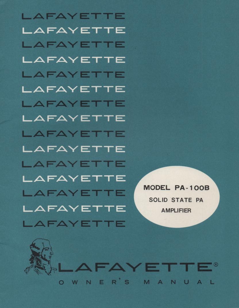PA-100B Amplifier Manual  LAFAYETTE