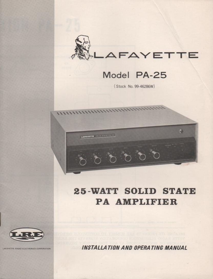 PA-25 PA Amplifier Manual  LAFAYETTE