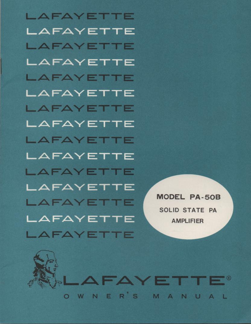 PA-50B Amplifier Manual  LAFAYETTE