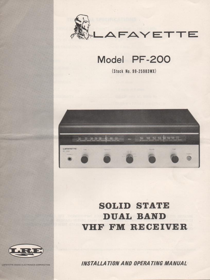 PF-200 Dual Band FM Receiver Owners Service Manual. Owners manual with schematic, Stock No. 99-25983WX .