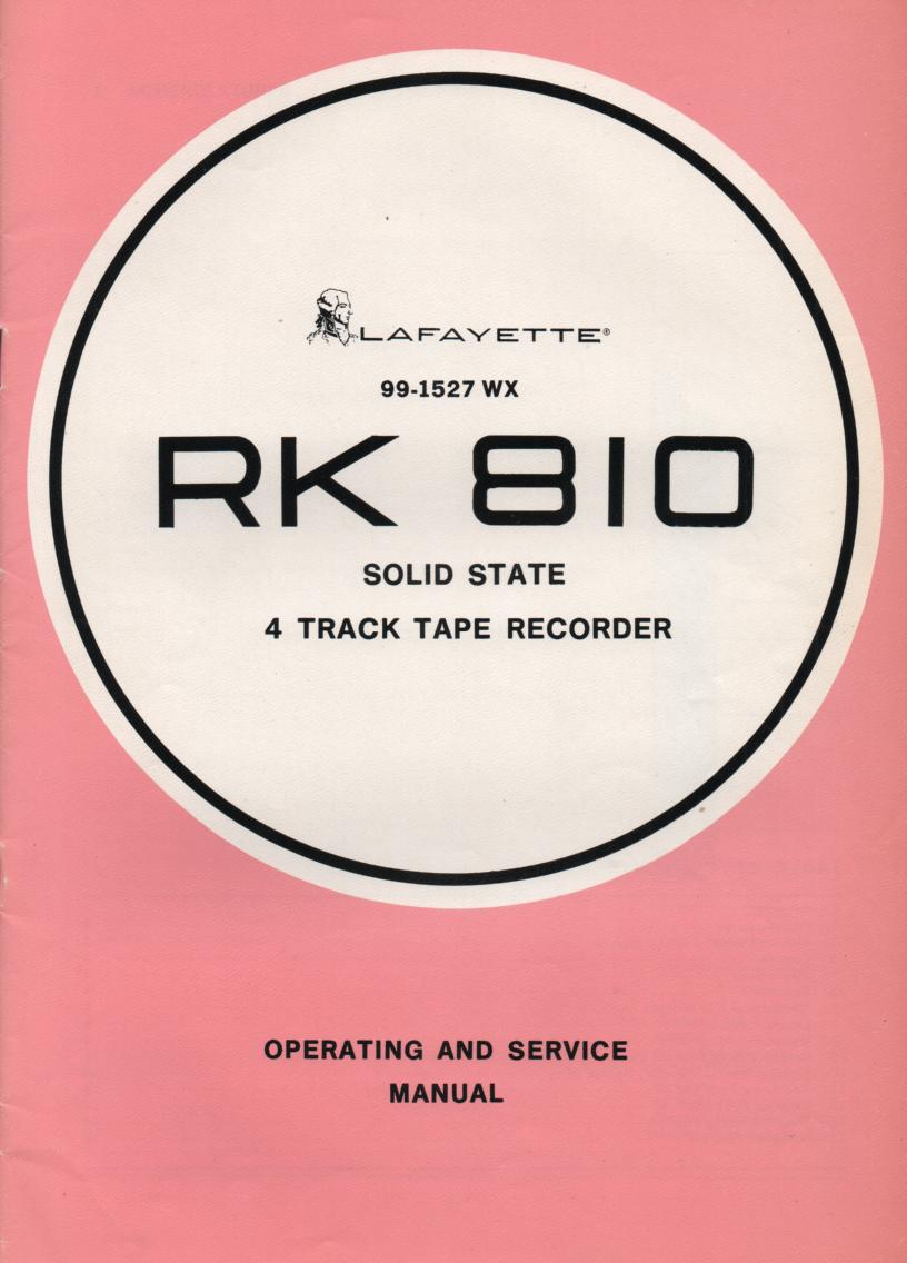 RK-810 Reel to Reel Owners Service Manual with schematic.