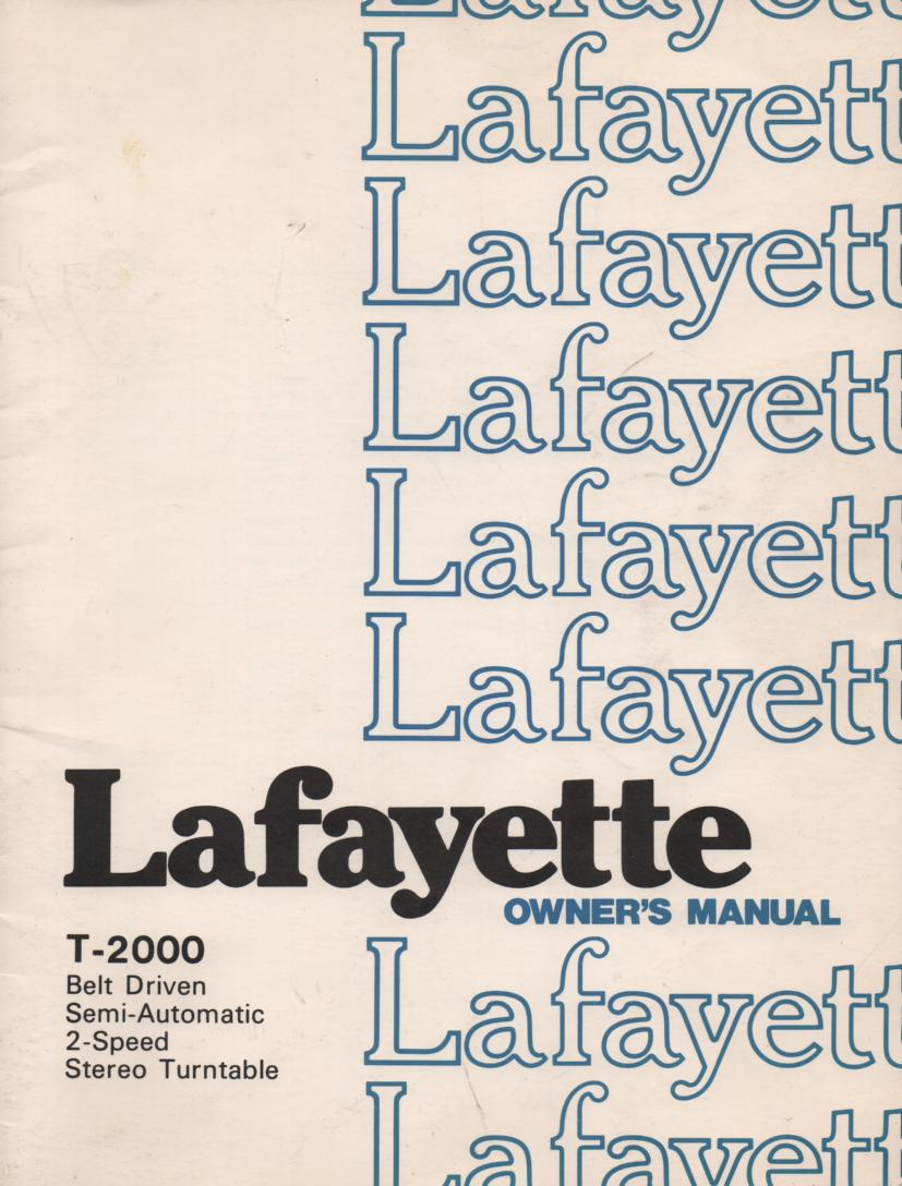 T-2000 Turntable Owners Service Manual  LAFAYETTE