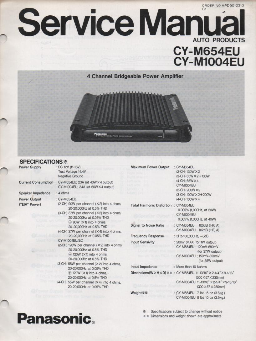CY-M654EU CY-M1004EU Power Amplifier Service Manual