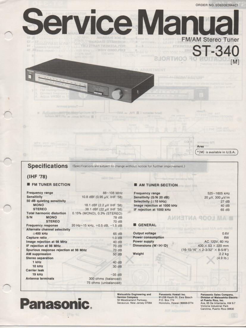 ST-340 Tuner Service Manual  Panasonic